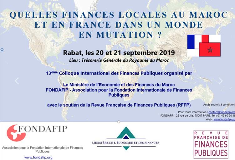 Le 13e colloque international des finances publiques, les 20 et 21 septembre à Rabat