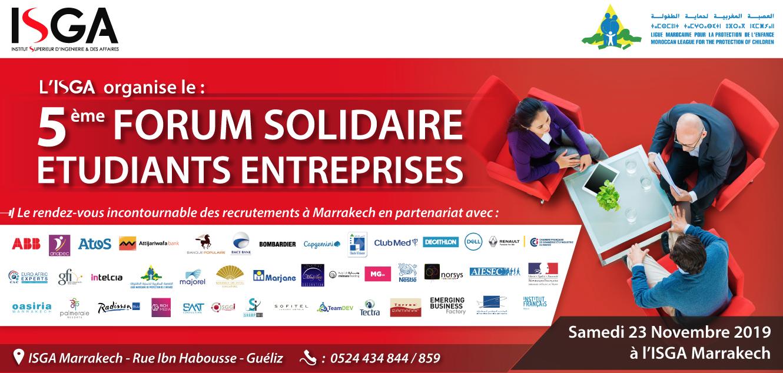 L'ISGA Marrakech organise la 5ème édition de son Forum entreprises solidaires